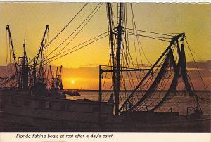 Florida Sunset With Fishing Boats At Rest