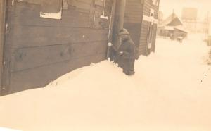 Somewhere in Kansas~Lady in Snow Up to Waist~Snowballs~RR Water Tower~c1923 RPPC