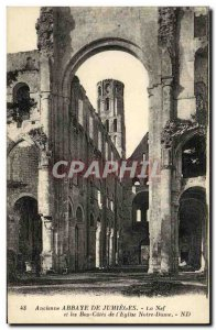 Old Postcard Abbey of Jumieges Nef and bottom sides of the church Notre Dame
