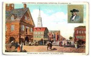 1926 Sesquicentennial Expo, Colonial Second Street, Philadelphia, PA Postcard