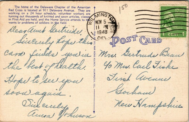 Vtg 1940s American Red Cross Headquarters Delaware Avenue Wilmington DE Postcard