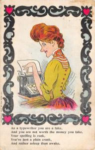 Secretary Comic Poem~Redhead~As Typewriter You Are a Fake~Spelling Rank~1907 PC