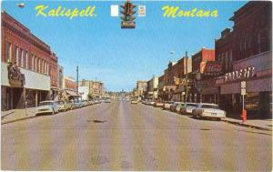 Main Street Looking North, Kalispell, Montana, MT, Chrome