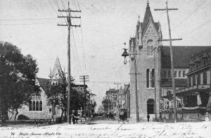 Atlantic City New Jersey~Pacific Avenue Churches~Inn Hotel~Horse Buggy~B&W 1908