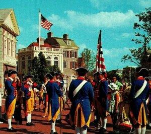 Vtg Chrome Postcard Walt Disney World 1970s Liberty Square Drum Corps Unused UNP