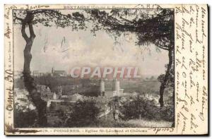 Old Postcard insurance Fougeres Eglis St Leonard and the castle Societe Switz...
