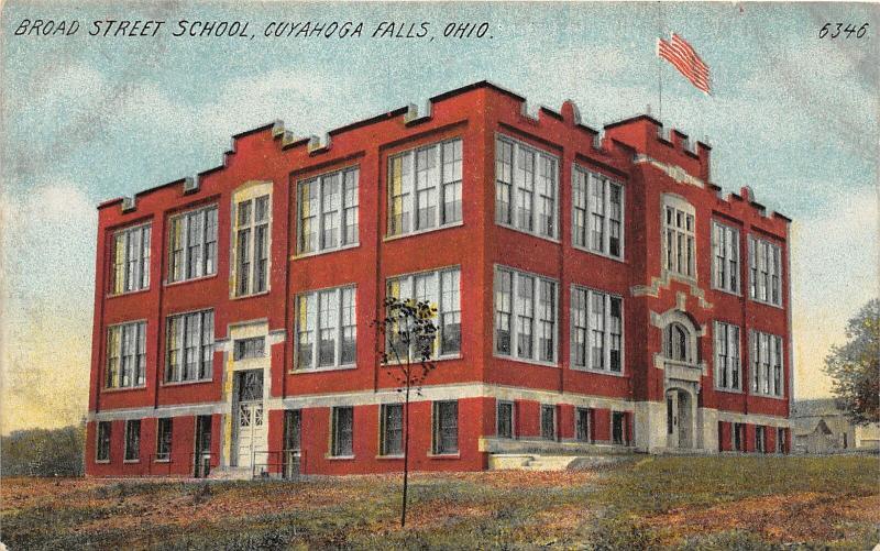 F27/ Cuyahoga Falls Ohio Postcard c1910 Broad Street School