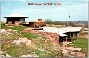 1960s Hello from LUVERNE Minnesota Greetings Postcard w/ MANFRED HOUSE View