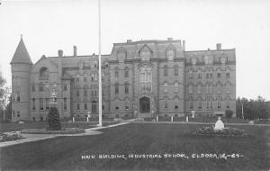 Eldora Iowa~Industrial School Main Bldg & Grounds~Fountain & Gardens~c1915 RPPC