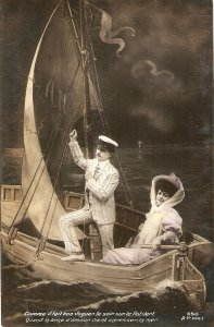 Couple. Wedding trip in sail boat Nice old vintage French postcvard