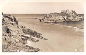 TENBY WALES UK~THE FORT AND SOUTH BEACH~PHOTO POSTCARD