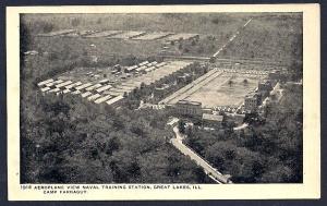 Camp Farragut birdseye Great Lakes Illinois unused c1910's