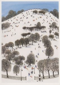 Christmas Sledging at Primrose Hill London Snow Painting Postcard