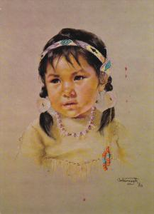 D. Oxborough: Prairie Sparrow, Portrait of Canadian Indian Girl in Leather ...