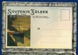 Panama Canal souvenir postcard folder foldout  1910s 22 views