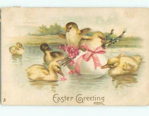 Pre-Linen Easter BABY DUCKS SWIM AROUND CHICKS FLOATING ON EGG AB3866