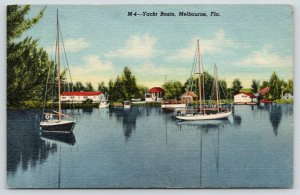 Melbourne Florida~Yacht Basin~Boats Docked-On Water~1940s Postcard