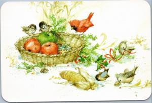 Cardinal and birds basket apples and corn holly - Hallmark Happy Holidays