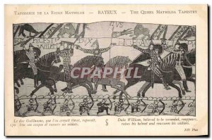 Postcard Old Bayeux Tapestry of Queen Mathilde Duke William & # 39on that hur...