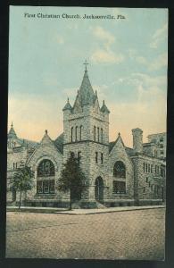 FL First Christian Church Jacksonville Florida Vintage ca 1910 Postcar