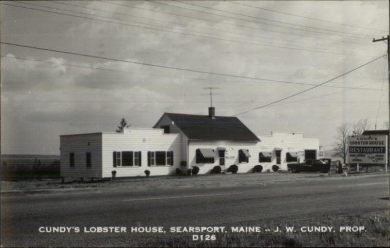 Searsport ME Cundy's Lobster House Real Photo Postcard ROADSIDE