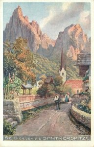 c1910 Schlern Italy Santnerspitze  Art Travel Advertising Poster Style Postcard