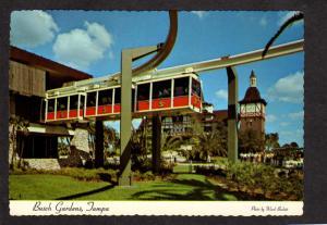 FL Busch Gardens Amusement Park Tampa Florida Postcard Monorail Train