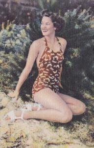 Pin Up Semi Nude Risque Beautiful Girl In Bathing Suit