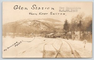 Glen & Jackson NH Train Trax Switch~Train Station~Boarding Place~MCRR~RPPC c1907