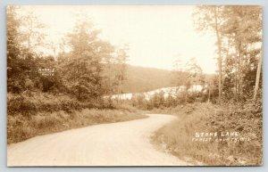 Forest County Wisconsin~Stone Lake~Curvy Gravel Road~Harris Photo~1920s RPPC