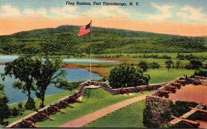 New York Fort Ticonderoga Flag Bastion Curteich