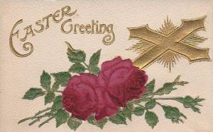 Easter Greeting, Embossed roses over cross, 00-10s