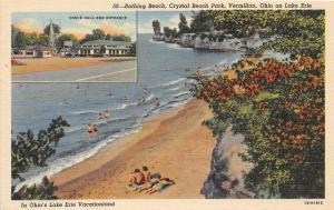 F64/ Vermilion Crystal Beach Park Ohio Postcard Linen 2View Rides Beach