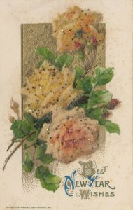 NEW YEAR, 1900-10s; Textured Glittered Yellow Roses