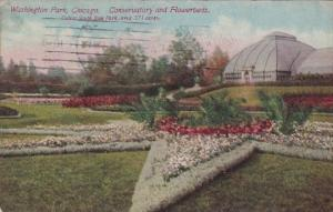 Illinois Chicago Conservatory and Flower Beds In Washington Park 1912