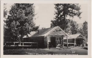 Montana MT Real Photo RPPC Postcard c30s CABIN CITY Trout Valley Lodge Log Cabin