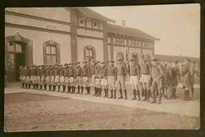 Mint Hungary Boy Scouts Standing in Line at High School Real Picture Postcard