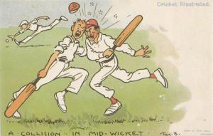 Tom Browne Cricket A Collision In Mid Wicket Comic Postcard