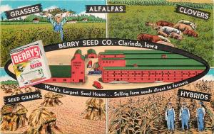 1930s Multiview Advertising Postcard Berry Seed Co. Clarinda IA Agriculture