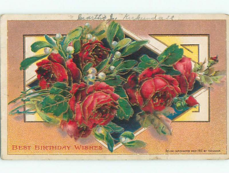 Pre-Linen BEAUTIFUL RED ROSE FLOWERS FOR BIRTHDAY WISHES k4731
