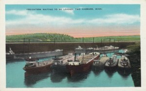 TWO HARBORS, Michigan, 1910s-20s ; Freighters Waiting to be Loaded