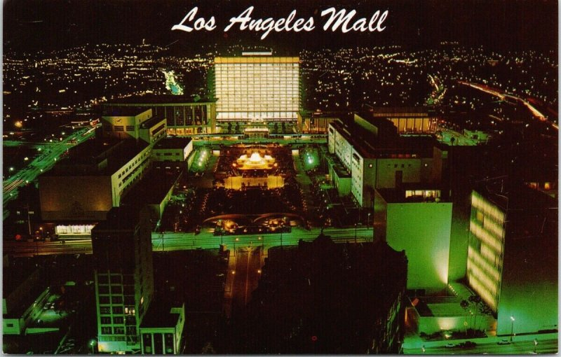 Los Angeles Mall Los Angeles CA Night Unused Vintage Postcard F65