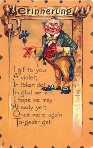 To My Valentine Raphael Tuck Leatherette Poem Man W/ Flower Postcard