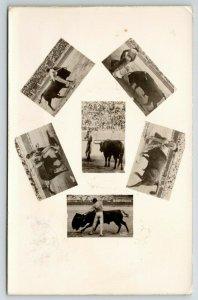 Mexican Bullfighting~1 Real Photo Postcard~6 Miniature Views~RPPC 1937 Postcard