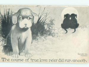 Pre-Linen Comic JEALOUS DOG SEES ROMANTIC DOGS AB9201