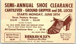 Omaha, Nebraska Advertising Postcard BERKHOLTZ'S SHOE STORE Sale Ad 1954 Cancel