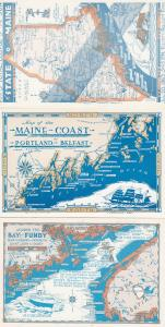 Bay Of Fundy Belfast Canadian 3x Maine Map Postcard s