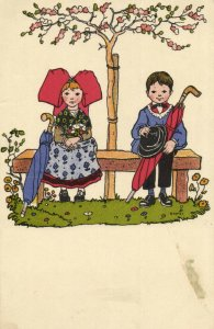 PC CPA HANSI, ARTIST SIGNED, BOY AND GIRL ON A BENCH, VINTAGE POSTCARD (b7652)