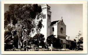 California RPPC Real Photo Postcard SANTA MONICA CATHEDRAL Street View c1950s