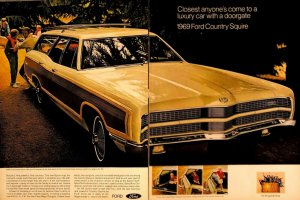 1968 Ford Country Squire Vintage Print Ad TWO PAGES Model Year 1969 Wagon